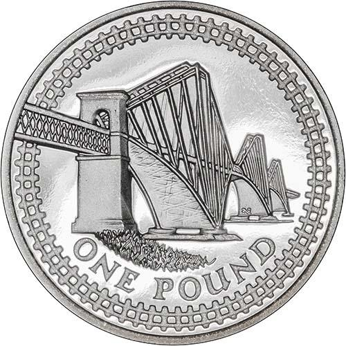 One Pound 2004 Forth Railway Bridge: Photo 2004 UK Coin £1 Silver Proof Forth Rail Bridge