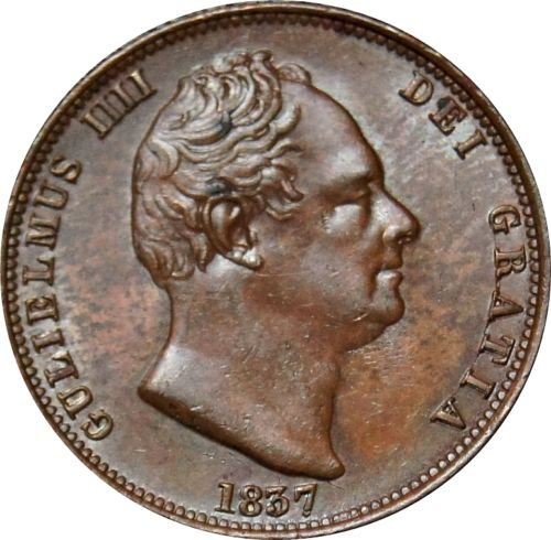 Halfpenny 1837: Photo 1837 Copper Halfpenny, William IV