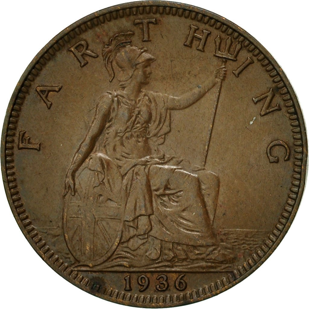 Perfect for Birthdays 1936 farthing Coin featuring Britannia from the United kingdom Anniversary and within Jewellery