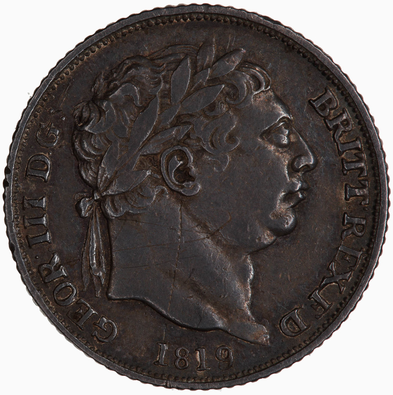 Sixpence 1819: Photo Coin - Sixpence, George III, Great Britain, 1819