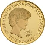 United Kingdom / Five Pounds 1999 Princess Diana / Gold Proof FDC - reverse photo