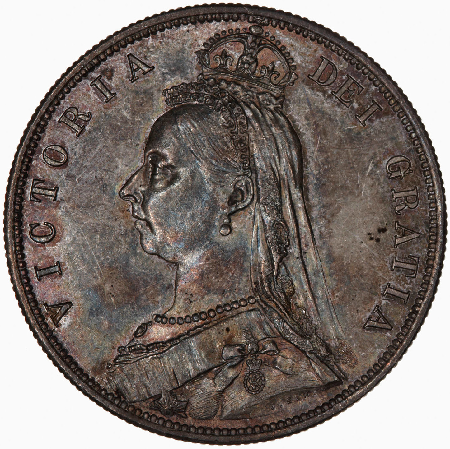 Halfcrown 1887 Jubilee Head: Photo Coin - Halfcrown, Queen Victoria, Great Britain, 1887