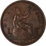 Penny 1874: Photo Coin - Penny, Queen Victoria, Great Britain, 1874