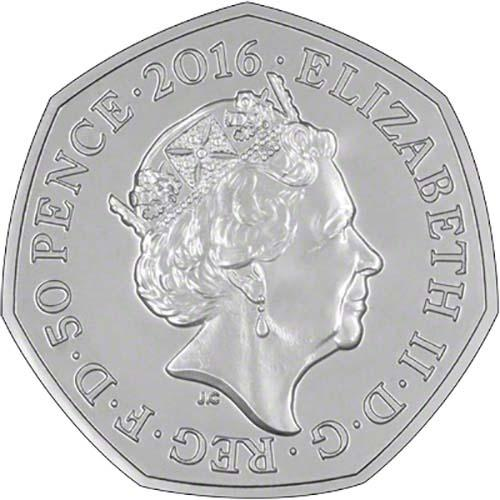 Fifty Pence 2016 Mrs. Tiggy-Winkle: Photo Mrs. Tiggy-Winkle 2016 UK 50p Silver Proof Coin