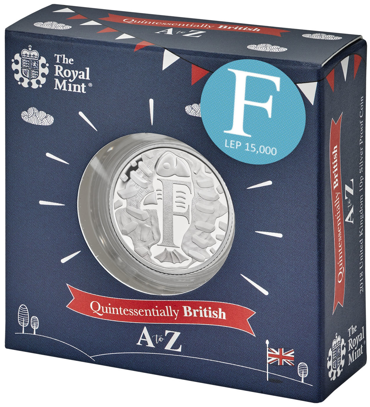 Ten Pence 2018 F - Fish and Chips: Photo F - Fish and Chips 2018 UK 10p Coin Silver Proof