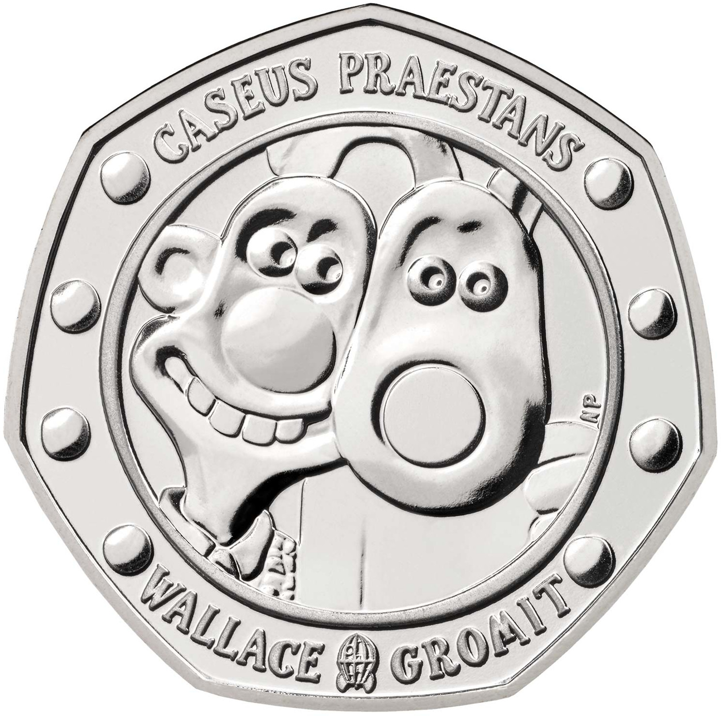 Fifty Pence 2019 Wallace and Gromit (NCLT): Photo Wallace and Gromit 2019 UK 50p Brilliant Uncirculated Coin