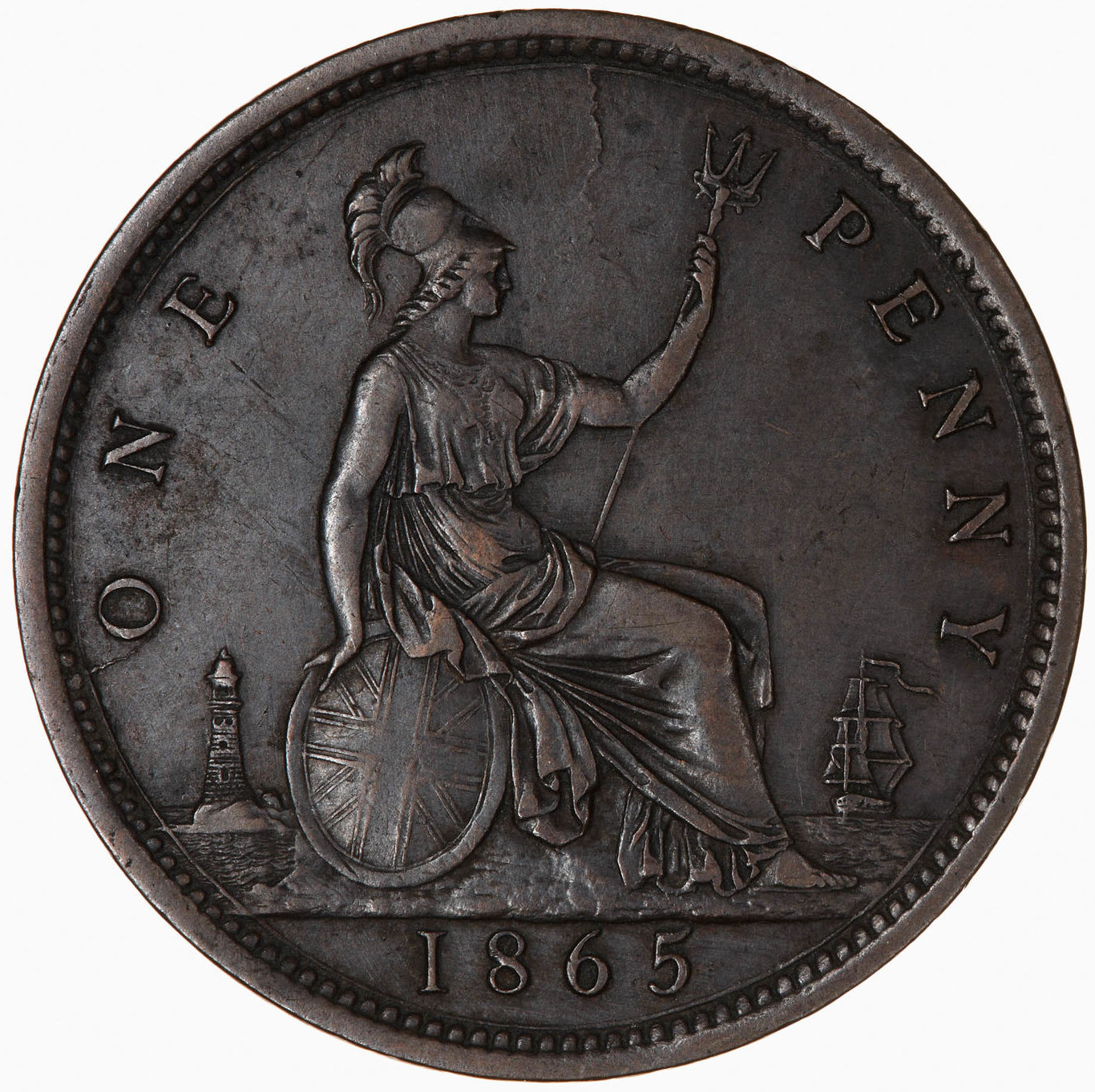 Penny 1865: Photo Coin - Penny, Queen Victoria, Great Britain, 1865