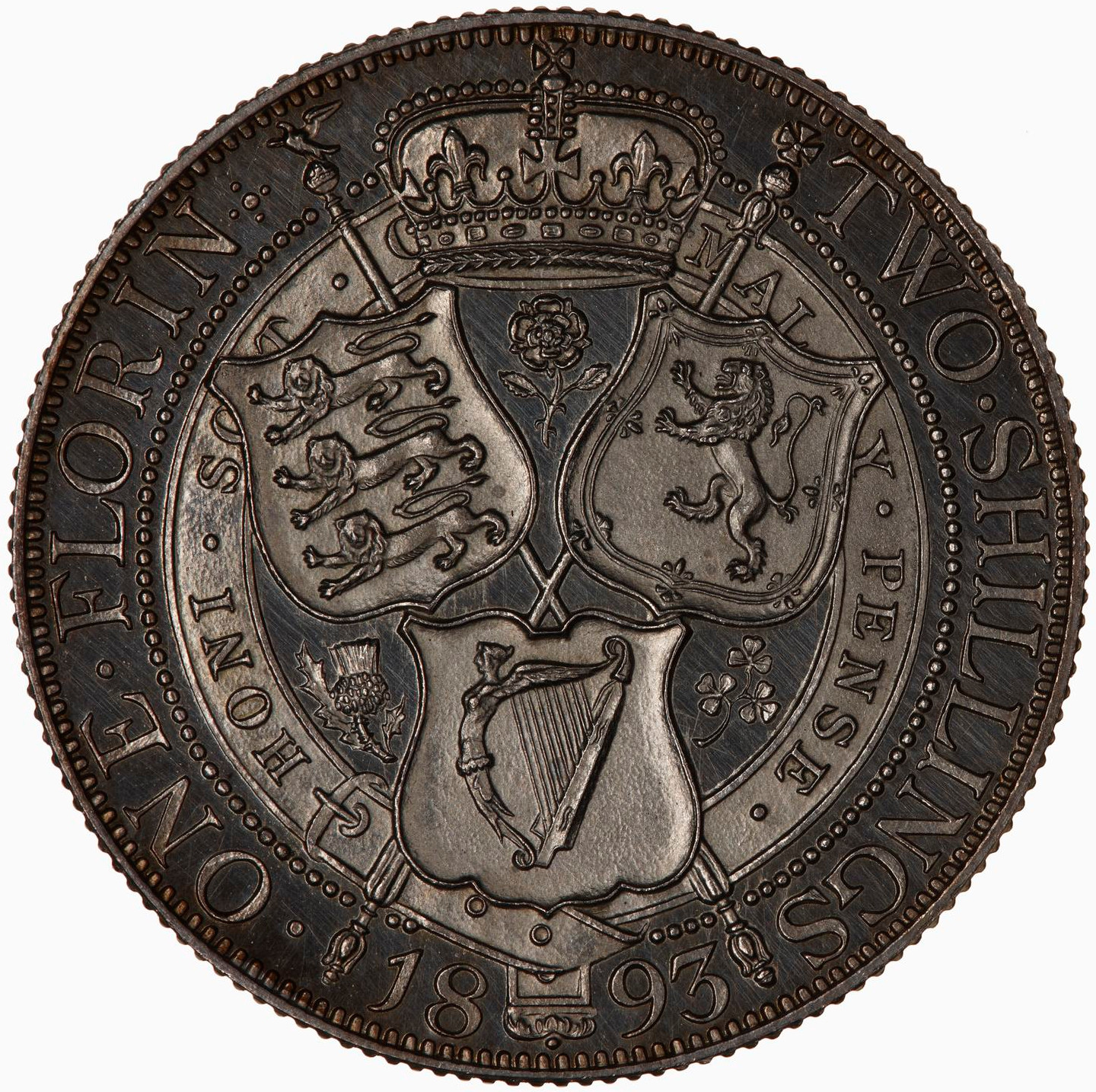 Florin: Photo Proof Coin - Florin, Queen Victoria, Great Britain, 1893