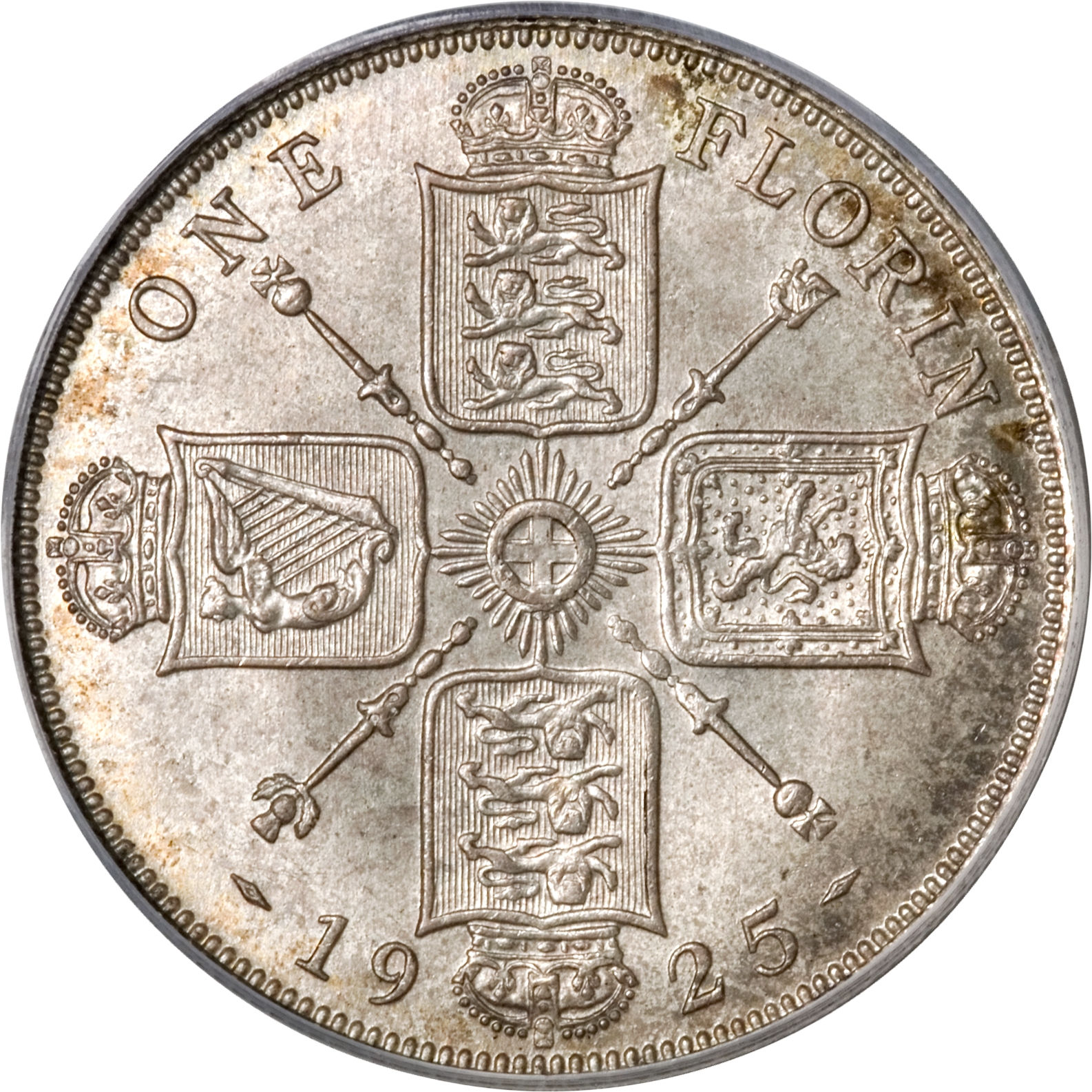Florin George V First Issue (Debased): Photo Great Britain 1925 florin