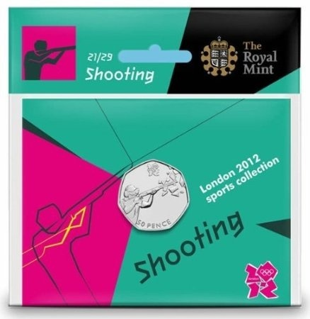 Fifty Pence 2011 - London 2012 - Shooting: Photo Royal Mint London 2012 50p­ Sports Collection - Shooting