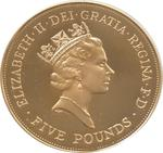 United Kingdom / Five Pounds 1990 Queen Mother / Gold Proof FDC - obverse photo