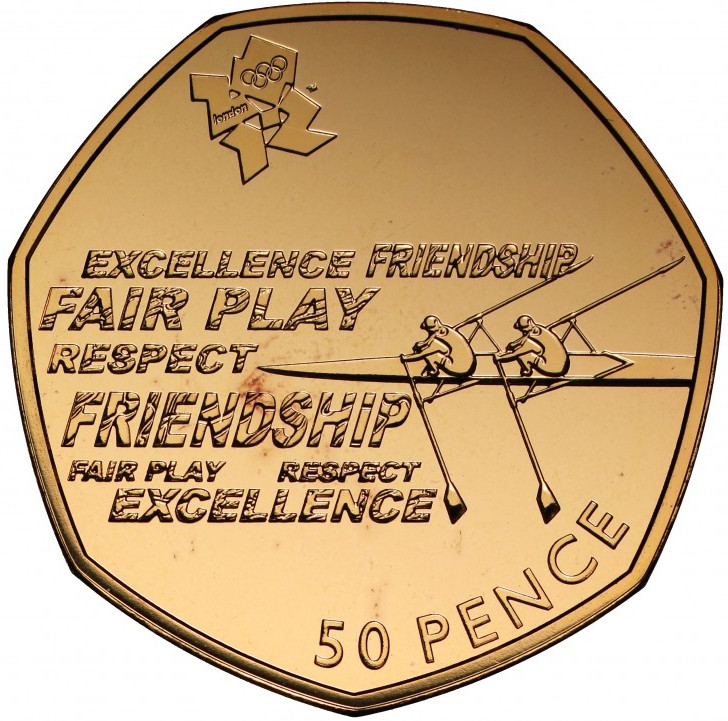 Fifty Pence 2012 - London 2012 - Rowing (Gold): Photo London Olympics 2012 gold proof Fifty-Pence Piedfort Rowing