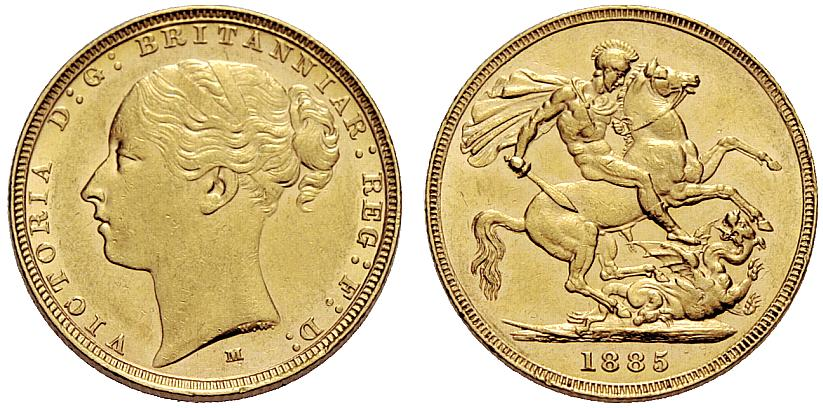 Sovereign 1885 St George: Photo Australia 1885-M sovereign Fr-16