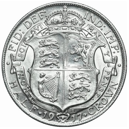 Halfcrown 1917: Photo George V, Silver Half-crown, 1917