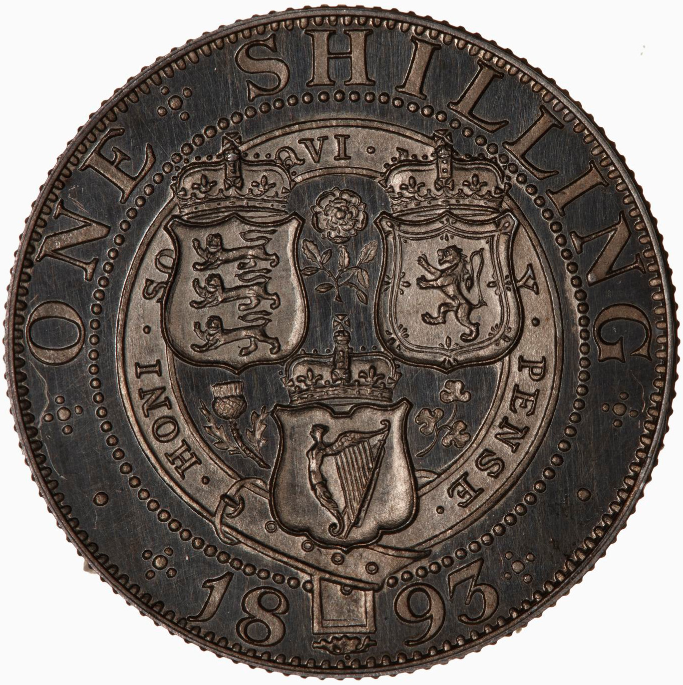 Shilling: Photo Proof Coin - Shilling, Queen Victoria, Great Britain, 1893