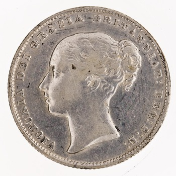 Shilling 1861: Photo Silver shilling, Great Britain