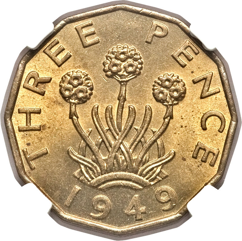 Threepence (Brass, Thrift Plant): Photo Great Britain 1949 3 pence