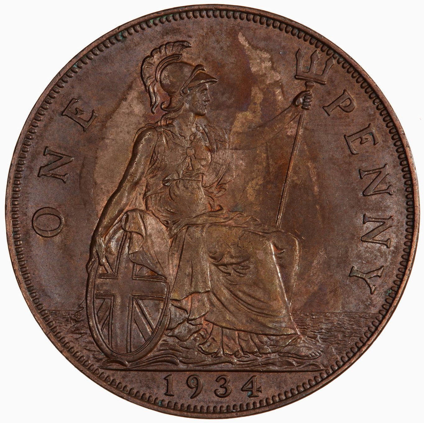 Penny 1934: Photo Coin - Penny, George V, Great Britain, 1934