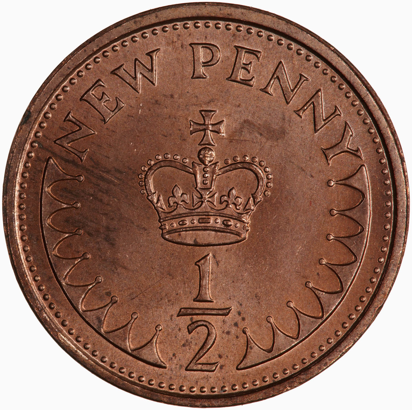 Half Penny 1975: Photo Coin - 1/2 New Penny, Elizabeth II, Great Britain, 1975