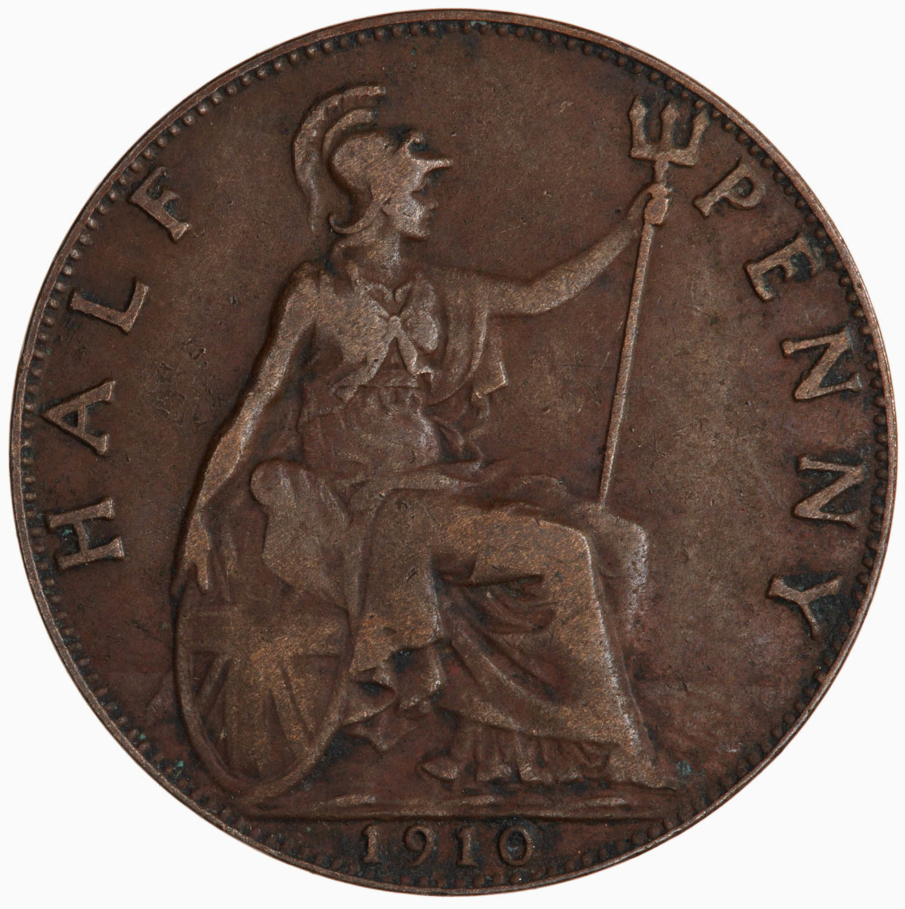 Halfpenny 1910: Photo Coin - Halfpenny, Edward VII, Great Britain, 1910
