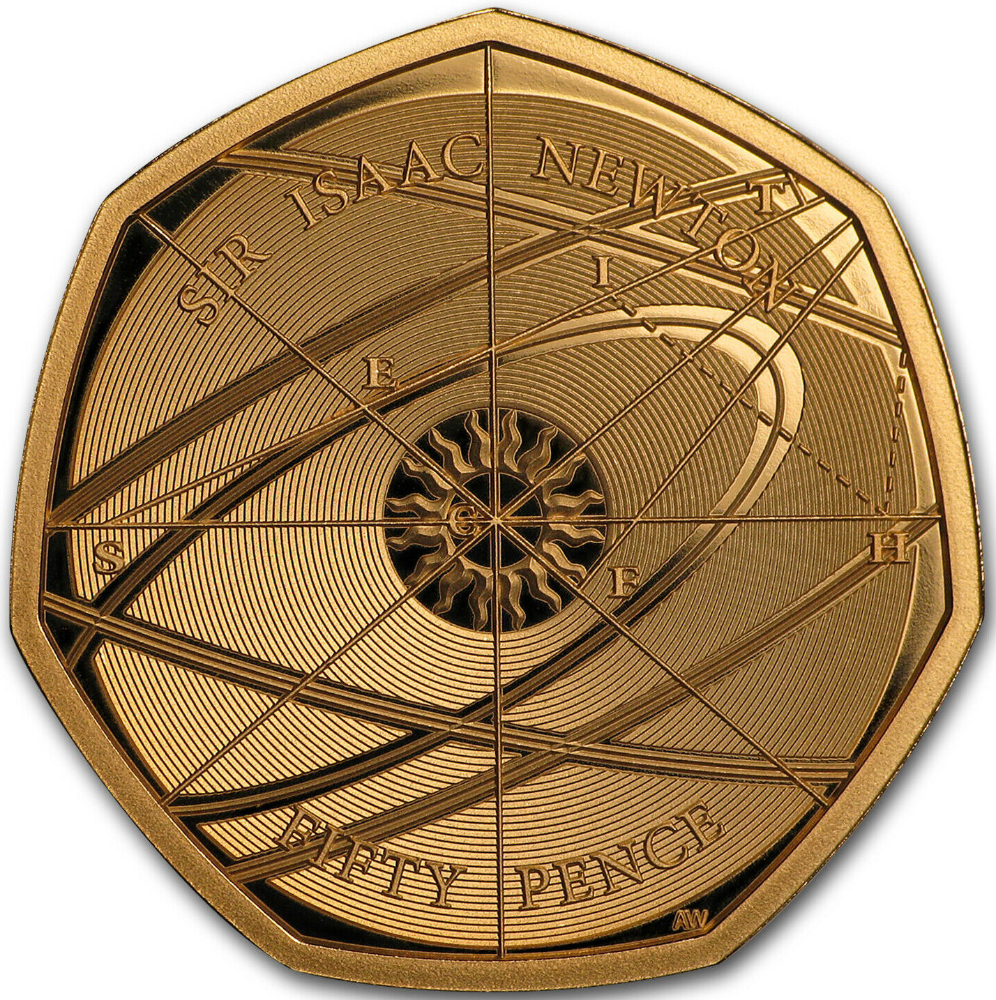Fifty Pence 2017 Sir Isaac Newton: Photo 2017 UK Coin 50p Gold Proof Sir Isaac Newton