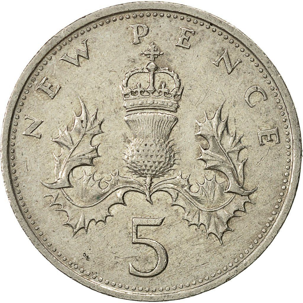 Five Pence 1979: Photo Great Britain, Elizabeth II, 5 New Pence, 1979