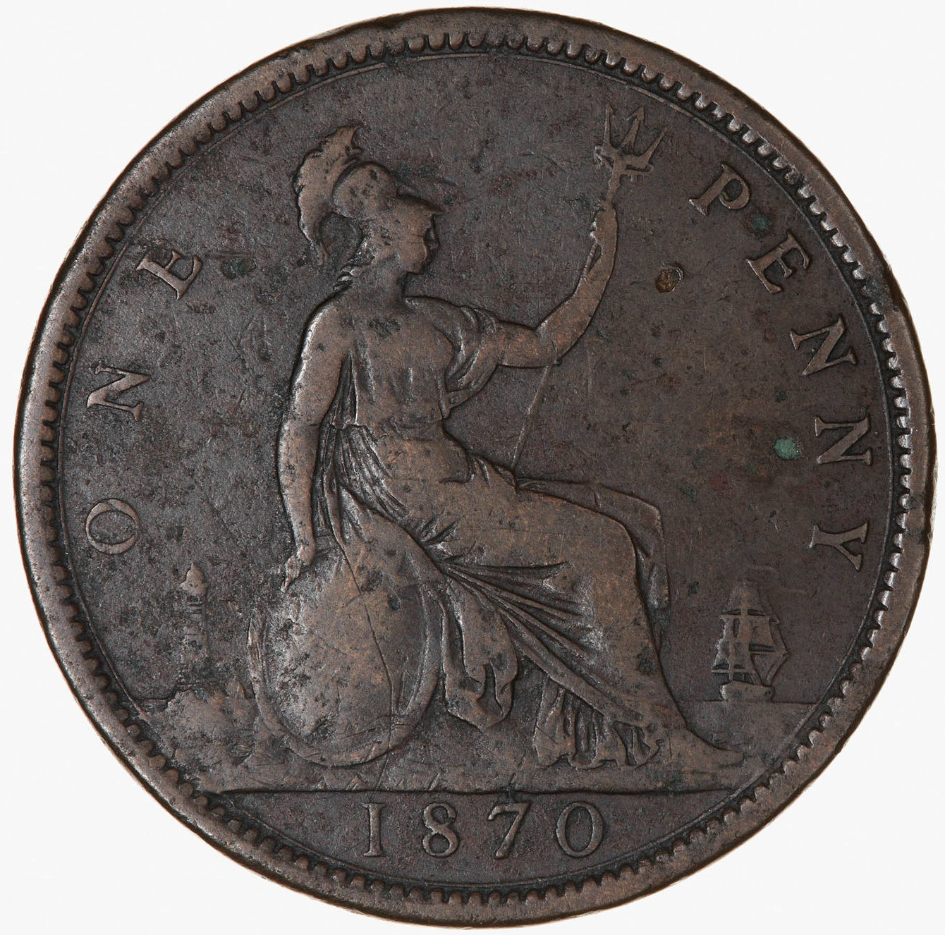 Penny 1870: Photo Coin - Penny, Queen Victoria, Great Britain, 1870