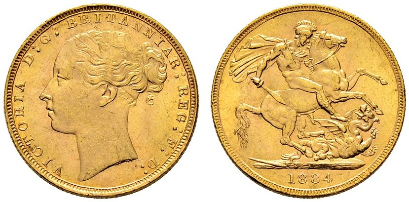 Sovereign 1884 St George: Photo Great Britain 1884 sovereign