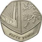 United Kingdom / Fifty Pence (Dent design) - reverse photo
