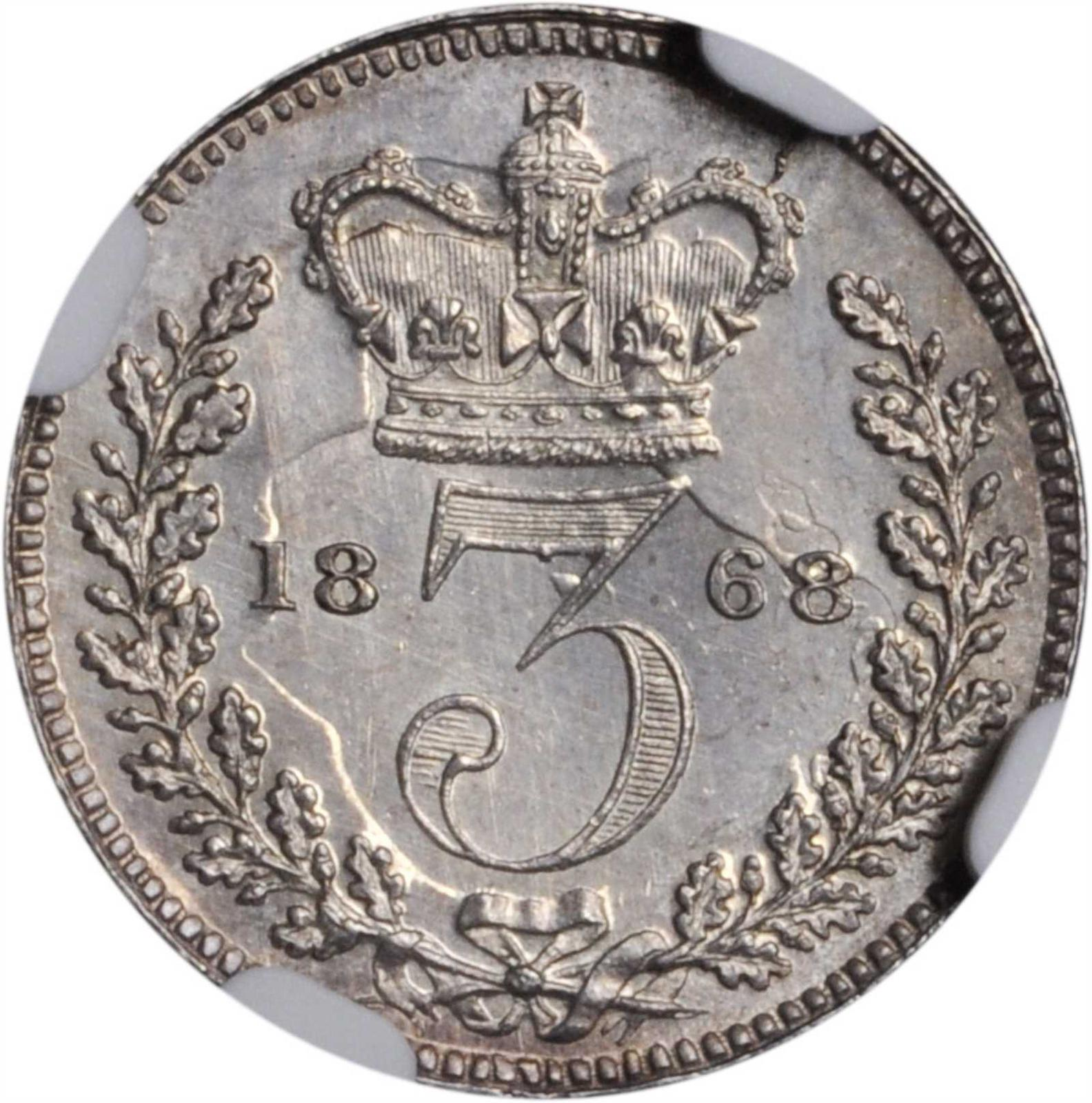 Threepence 1868 (Maundy): Photo Great Britain 1868 3 pence