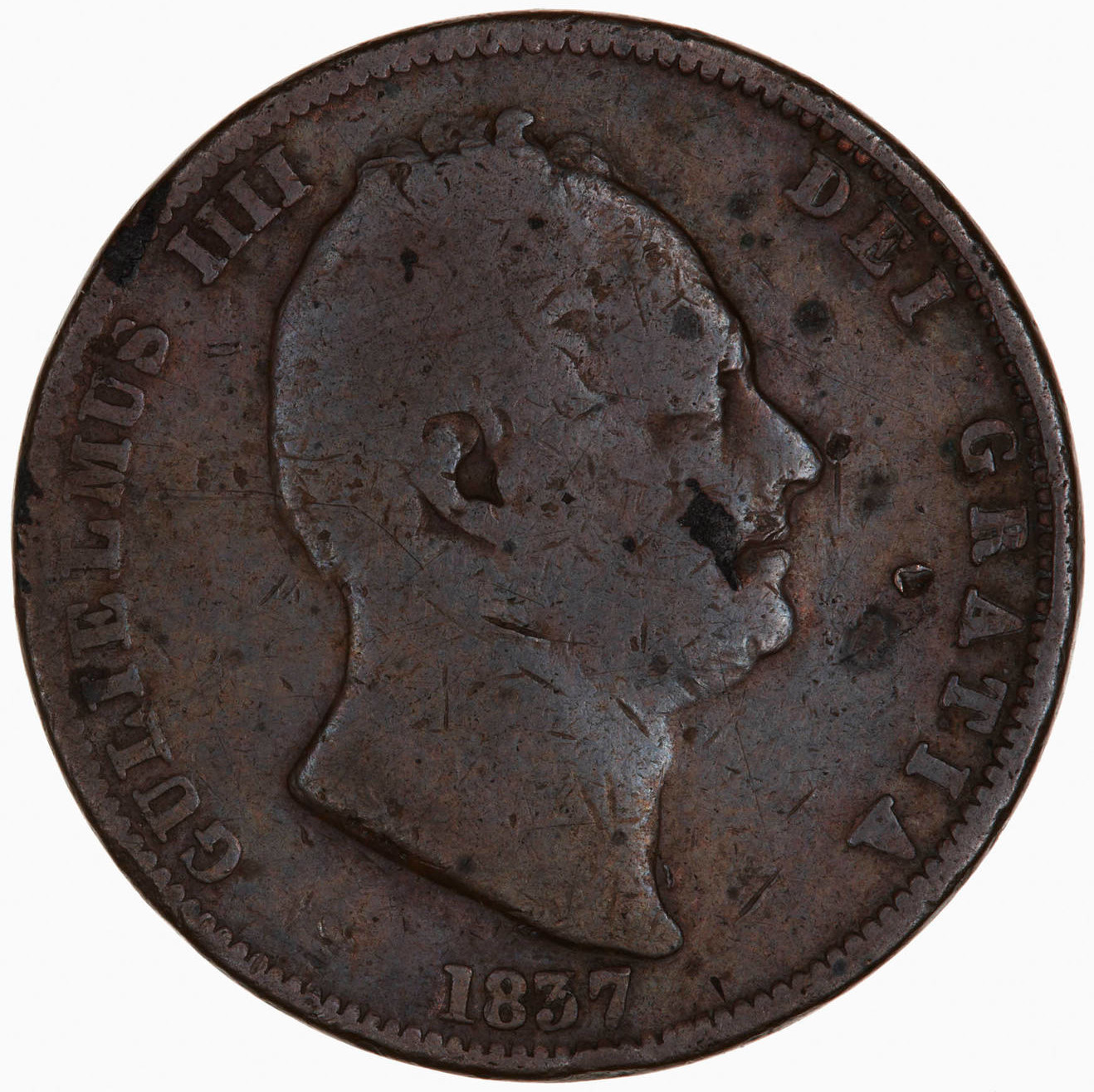 Halfpenny 1837: Photo Coin - Halfpenny, William IV, Great Britain, 1837