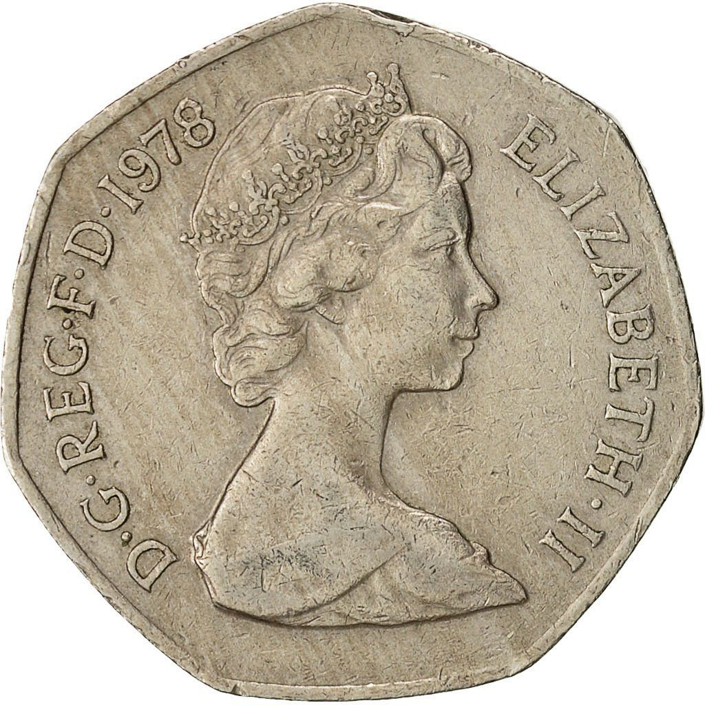 Fifty Pence 1978: Photo Coin, Great Britain, Elizabeth II, 50 New Pence, 1978