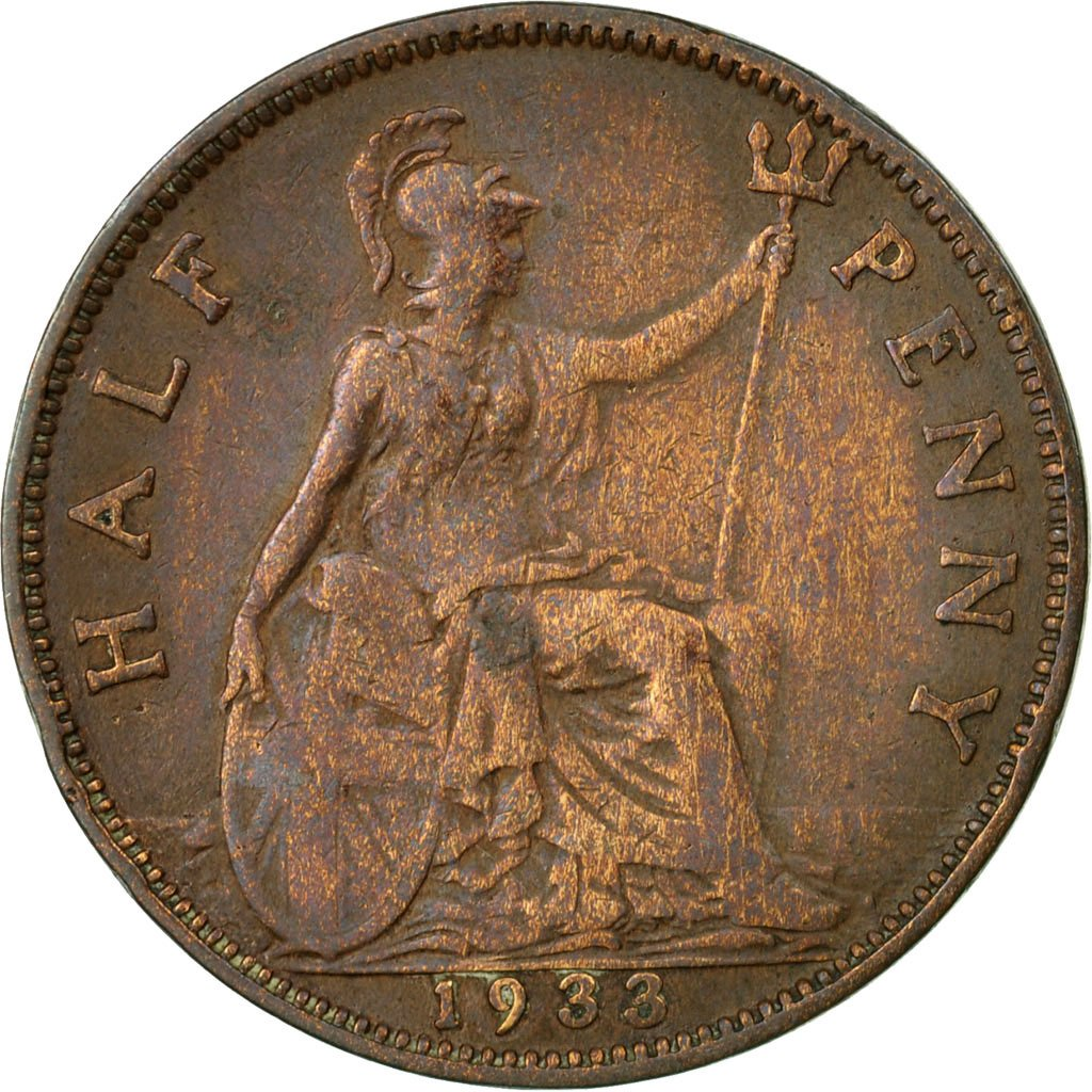 Halfpenny 1933: Photo Coin, Great Britain, 1/2 Penny, 1933