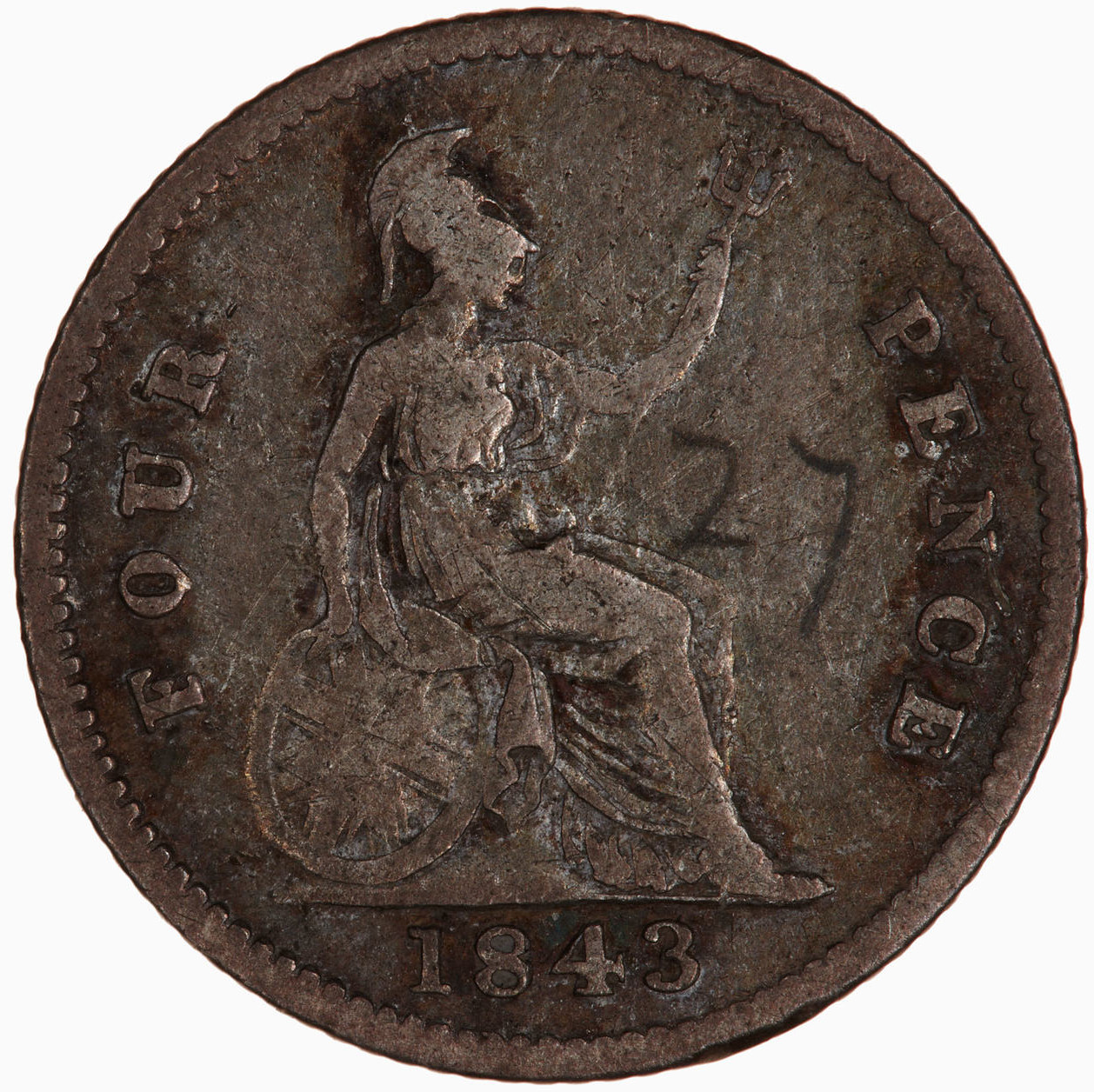 Fourpence 1843: Photo Coin - Groat, Queen Victoria, Great Britain, 1843