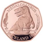 United Kingdom / Fifty Pence 2020 Megalosaurus / Gold Proof FDC - reverse photo