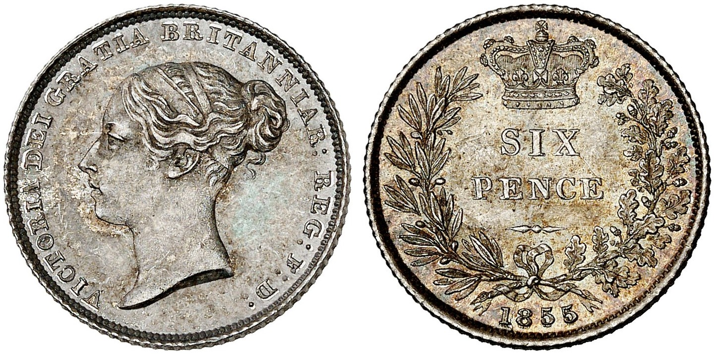 Sixpence 1855: Photo Great Britain 1855 6 pence