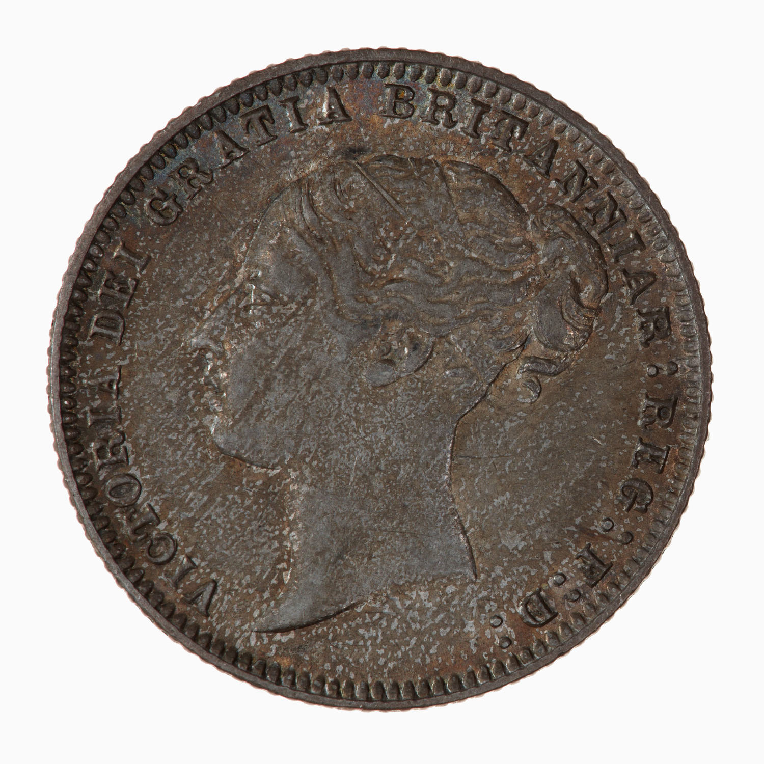 Sixpence 1877: Photo Coin - Sixpence, Queen Victoria, Great Britain, 1877
