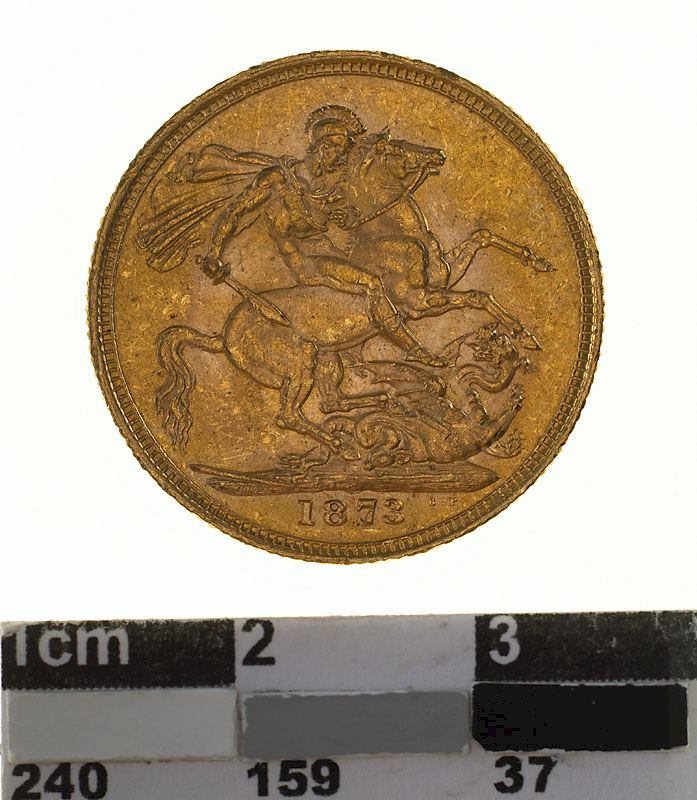 Sovereign 1873 St George: Photo Coin - Sovereign, Victoria, Australia, 1873