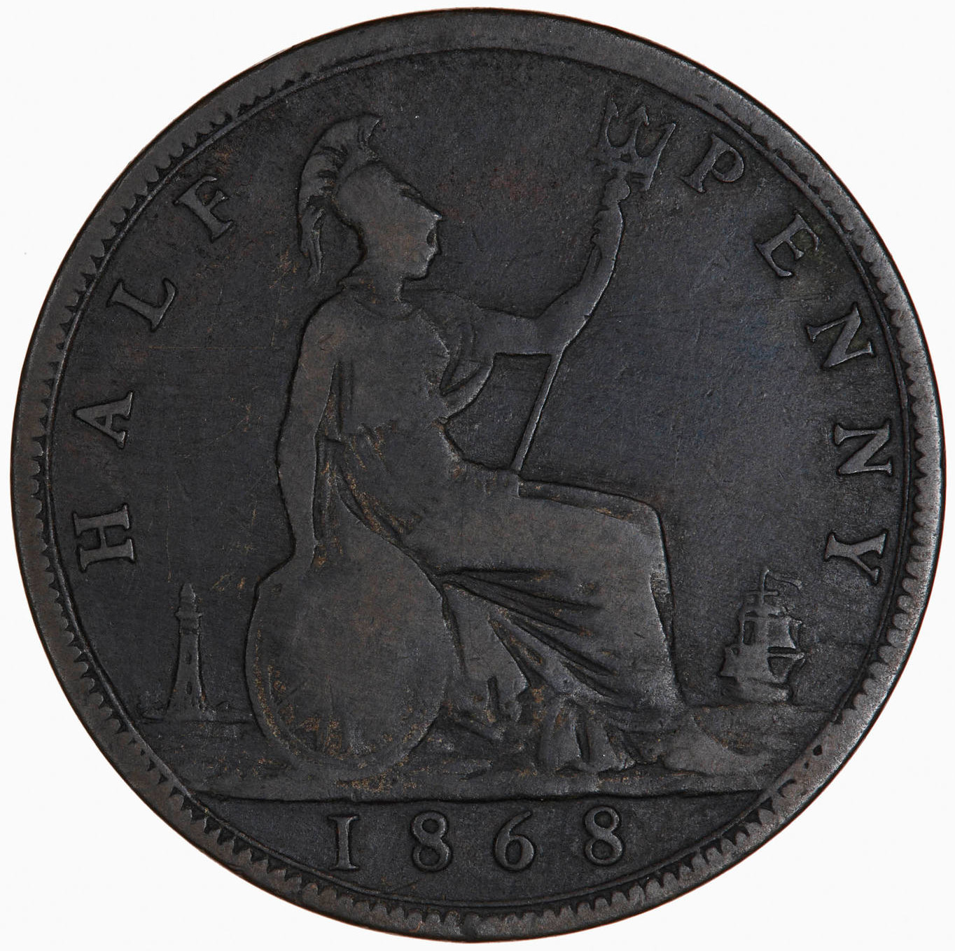 Halfpenny 1868: Photo Coin - Halfpenny, Queen Victoria, Great Britain, 1868