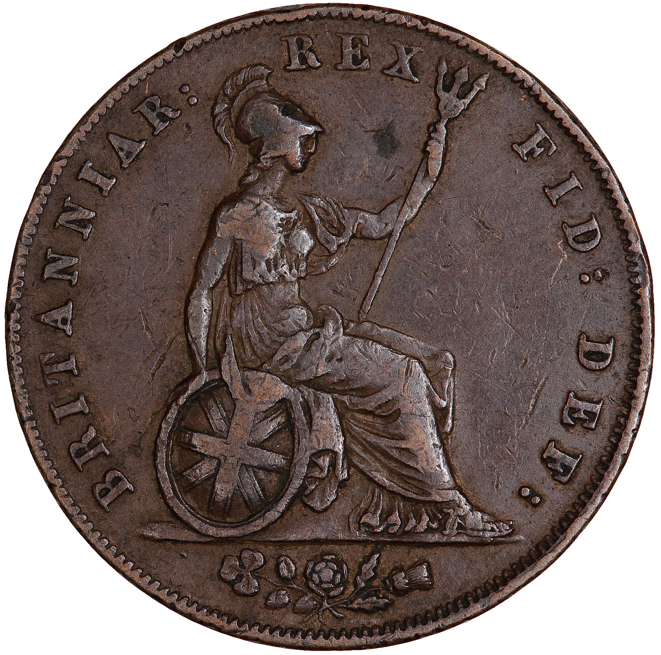 Halfpenny 1827: Photo Coin - Halfpenny, George IV, Great Britain, 1827