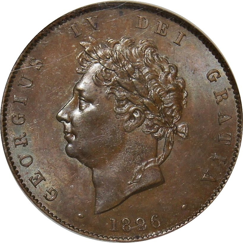 Halfpenny (Britannia, second design): Photo 1826 Copper Half-penny, George IV
