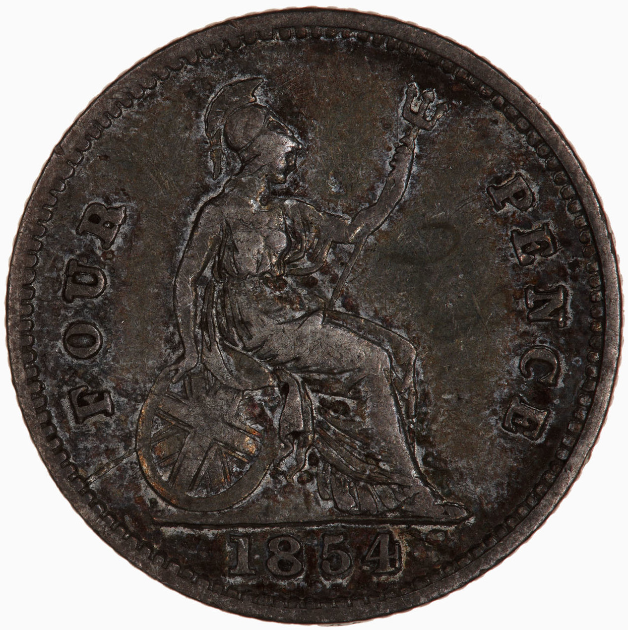Fourpence 1854: Photo Coin - Groat, Queen Victoria, Great Britain, 1854