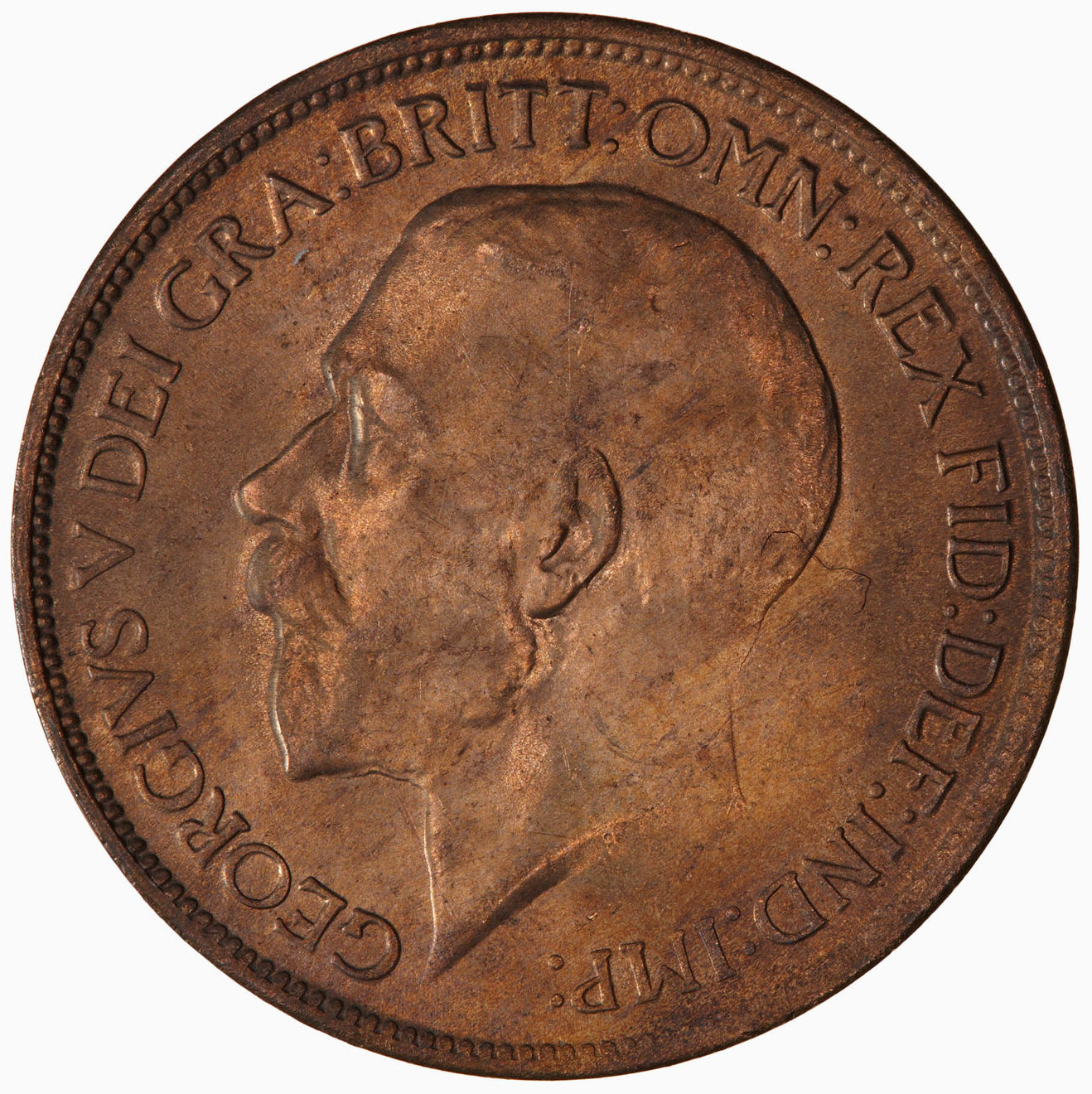 Halfpenny 1917: Photo Coin - Halfpenny, George V, Great Britain, 1917