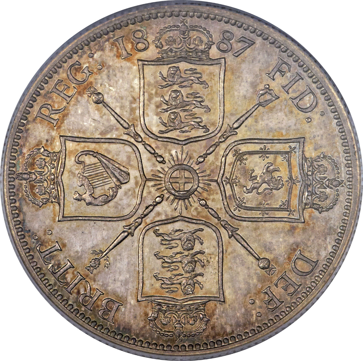 Florin 1887 Jubilee: Photo Great Britain 1887 florin KM-762