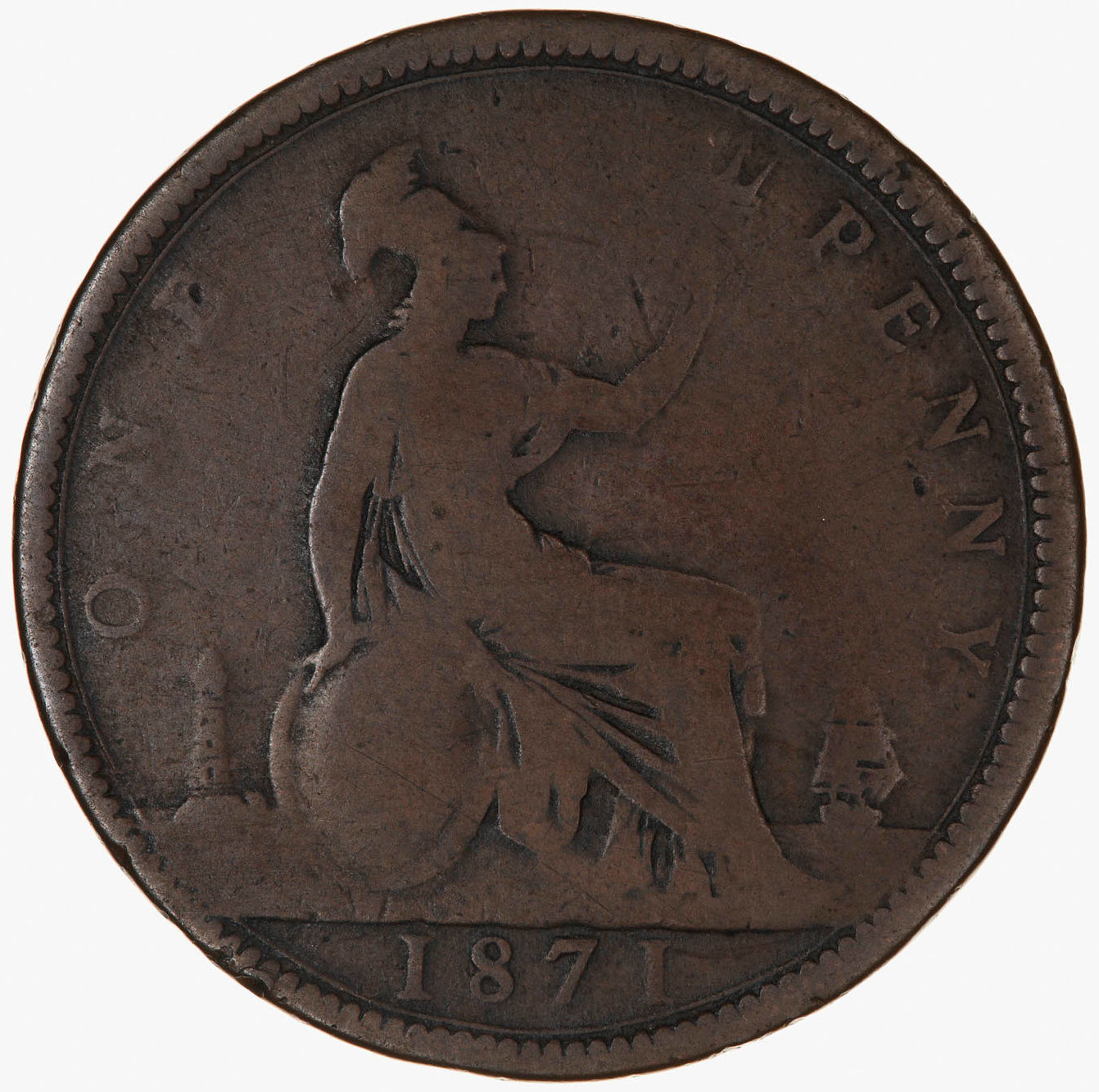 Penny 1871: Photo Coin - Penny, Queen Victoria, Great Britain, 1871