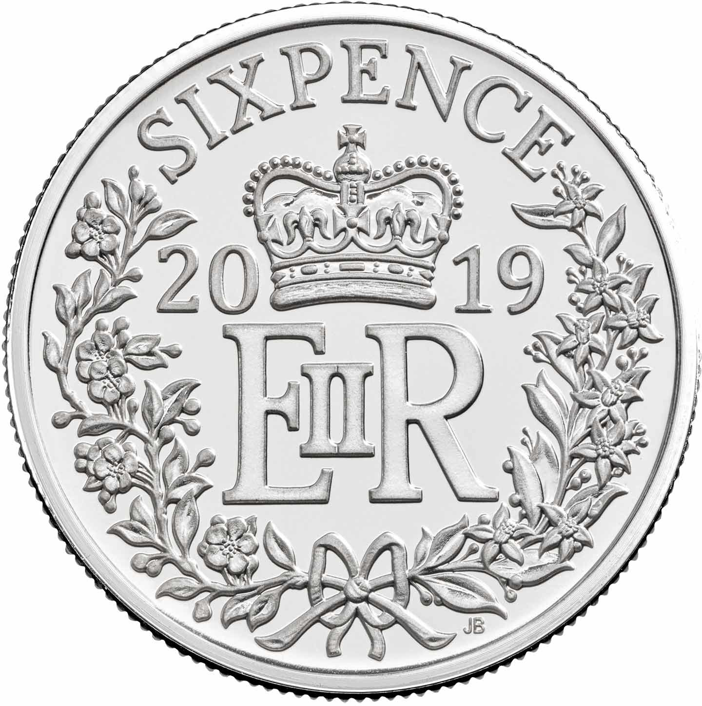 Sixpence (Decimal): Photo 2019 Sprig Wedding Silver Sixpence