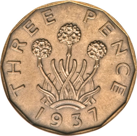 Threepence 1937 (Brass): Photo Great Britain 1937 3 pence KM-849