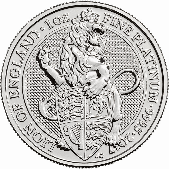 Platinum Ounce 2017 Lion of England: Photo The Queen's Beasts 2017 The Lion 1 oz Platinum Coin
