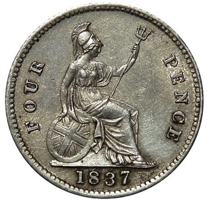 Fourpence 1837 (William IV): Photo William IV, Silver Groat, 1837