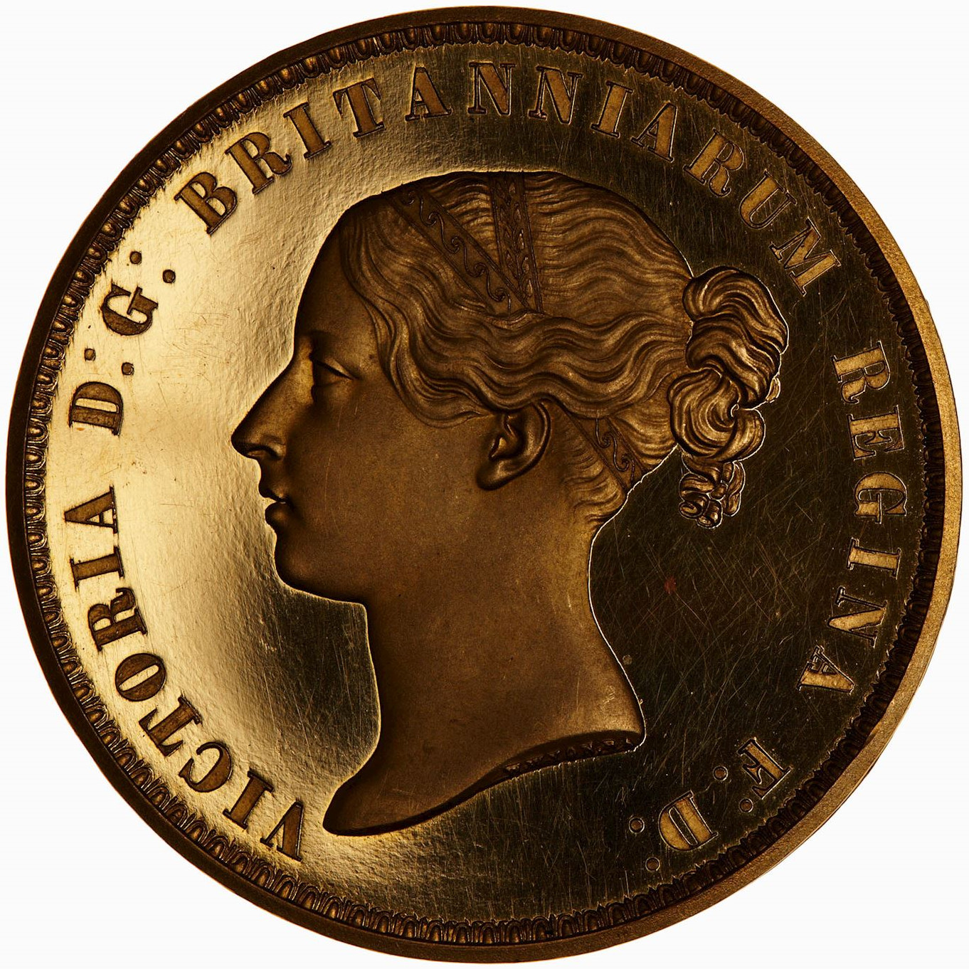 Five Pounds (Pre-decimal): Photo Pattern Coin - 5 Pounds, Queen Victoria, Great Britain, 1839